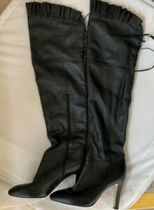(SHP) Kelsi Dagger Black Leather Pull up thigh boots LEFT BOOT 10 RIGHT BOOT 9.5