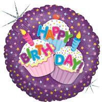 "Betallic Cupcake Happy Birthday Holographic Round Shaped Balloon- 18"""