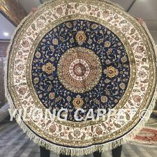 YILONG 5'x5' Handknotted Silk Round Carpet Floral Dining Room Area Rug ZW118C