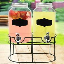 2x4 Ltr Vintage Double Glass Cold Drink Dispenser Party Barrel Jars With Stand