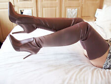 BNIB Stretch SATIN faux Leather Stiletto High Heel Crotch Thigh Boots 5 38 7.5