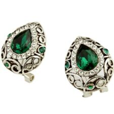 White gold finish emerald green omega-back earrings quality jewellery UK seller