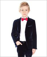 Groom Wedding Navy Velvet Children Suits Custom Size Boys' Party Tuxedos Dress