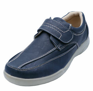 MENS NAVY TOUCH STRAP COMFY LIGHTWEIGHT SMART CASUAL LOAFERS DECK SHOES 6-12