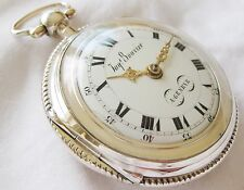 Gorgeous Silver Swiss Verge Fusee pocket watch Jacques Bouvier Geneva  ca1785