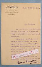 Lettre 1930 Pierre BRISSON Journaliste Les annales LES AMIS DE COURTELINE Autogr