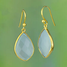 925 sterling Silver Chalcedony gemstone Gold plated earrings jewelry 4.18g