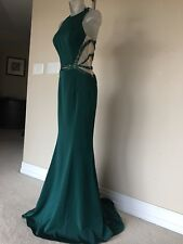 Long Hunter Green Evening Party wedding dress with sequence and beading. Size 6
