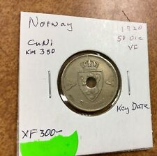 {BJSTAMPS} Norway 50 Ore with Hole 1920 strong details, XF