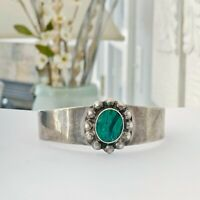 Taxco Mexico Sterling Silver 925 Stack Layer Modern Malachite Arm Cuff Bracelet