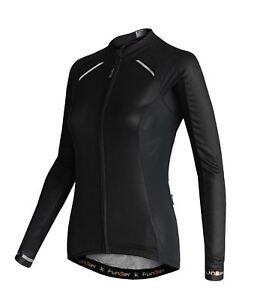 Funkier Odessa Ladies Summer Long Sleeve Jersey Rider Cut in Black Medium
