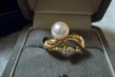 "Authentic ""MIKIMOTO"" K18  8.1mm Akoya Pearl &  Diamond Ring"