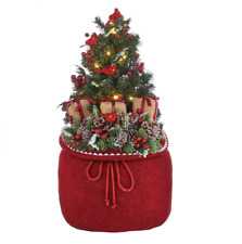 """24"""" BAG WITH LIGHTED TREE AND CARDINALS Raz Imports CHRISTMAS 4015548 NEW Wow!"""