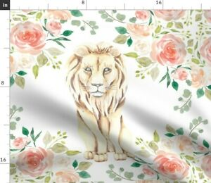 Floral Lion Lion Lovey Coral Lion Spoonflower Fabric by the Yard