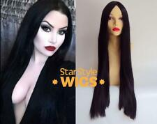 DELUXE MORTICIA ADDAMS FAMILY LONG BLACK STRAIGHT HALLOWEEN COSTUME WIG GOTHIC