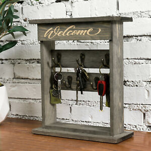 MyGift Tabletop Gray Wood Key Organizer Rack with 5 Metal Hooks and Welcome Sign