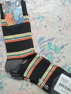 Paul Smith Mens Korean Cycle Socks Calf Block Black Grey K706S Medium Nylon Mix