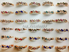 Wholesale lots 10pps Crystal Rhinestone Gold Plated Wedding Rings Jewelry FREE