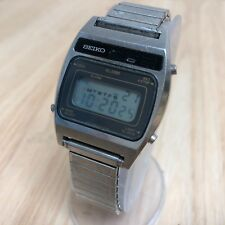 Vintage Seiko A638 Mens Steel LCD Digital Alarm Quartz Watch Hours~New Battery