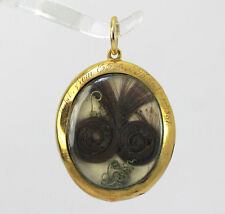Antique Victorian mourning locket pendant 21K YG hair horseshoes emeralds pearls