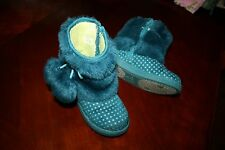 Girls' Boots Naartjie Turquoise Blue Faux Fur Pom Poms Stars Size 10 Toddler