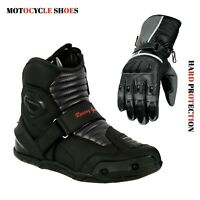 Motorcycle Gear Shop Short Ankle Racing Boots & Motorbike Leather Gloves Armour