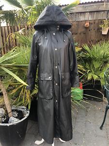Black Long Four Seasons Wax skin Rain Coat, Size Small