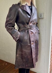 Nice Vintage Long Leather Motorcyclist Military Trench Coat 1930's Smaller Size