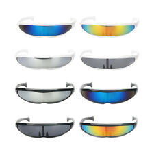 Novelty Futuristic Cyclops Mirror Sunglasses Monoblock Alien Glasses Adults Kids
