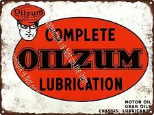 "Oilzum Complete Lubrication Motor Oil Man Cave Garage Shop Metal Sign 9x12"" A409"