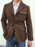 Herren Braun Wolle Tweed Anzüge Blazer Sport Outwear Jagd Smoking Warm Sakko