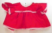 Vintage Red & White Doll Dress for Medium Baby Doll Cotton & Lace