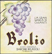 PUBBLICITA' 1930 BROLIO VINO CHIANTI BARONE RICASOLI  FIRENZE UVA VITE GRAPPOLO