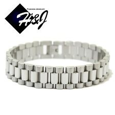 """8""""MEN's Stainless Steel 15mm Silver Watch Band Link Chain Bracelet"""