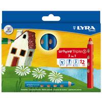12 x Lyra Groove Triple 1 Pencil Crayon - Water Soluble - 3 in 1 Super Jumbo