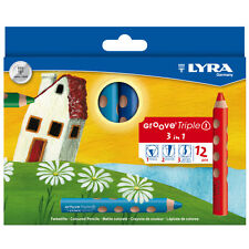 12 x Lyra Groove Triple 1 Pencil Crayon - Water Soluble - 3 in 1 Super Jumbo
