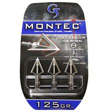 "G5 Broadhead Montec Crossbow 3pk 125 Grain 1 1/8"" Cut #00612 Stainless Steel"