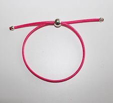 Rope drawstring bracelet with bead - Hot Pink - Links style