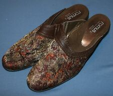 Romus Womens Tapestry Fabric Slip On Heels Mules Sz 41 10 10.5