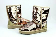 UGG Classic Short Sequin Boots Fully Lined Gold Combo Color Women's U.S Size 5