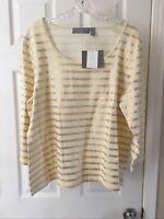 Liz Claiborne women's size 1X t-shirt Ivory and Gold Metallic Stripe Scoop Neck!