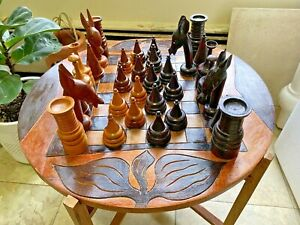 Vintage Oversized JUNGLE Chess Set Hand Carved WOOD 2 Sided Board Table Complete