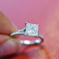 1.35Ct White Cz 10K White Gold Fn Promise Wedding 925 Ss Ring Princess Round Cut