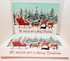 SET OF 4 Dogs in Sled Christmas Themed Vinyl Top Thick Foam Back Placemats NWT