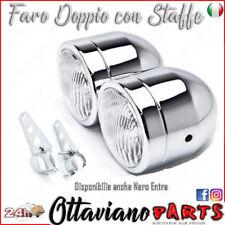 Faro Luce Moto Anteriore per Naked Custom Special Doppio Cromato Staffe M60