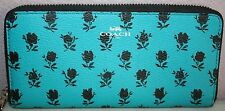 """""""Coach"""" Accordion Zip Wallet~Turquoise/Black~Floral~NWT"""
