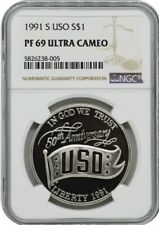 1991-S USO SILVER PROOF DOLLAR S$1 NGC PF69 ULTRA CAMEO