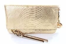 Michael Kors Clutch Bag Corinne Gold Snakeskin Embossed Leather RRP £260