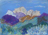 Yuri Haakö Dessin Bleu Heure En Montagnes Alpes Nuit Expressif Moderne Art