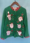 Tiara International Christmas Collection Women's Ugly Santa Sweater Cardigan Lg